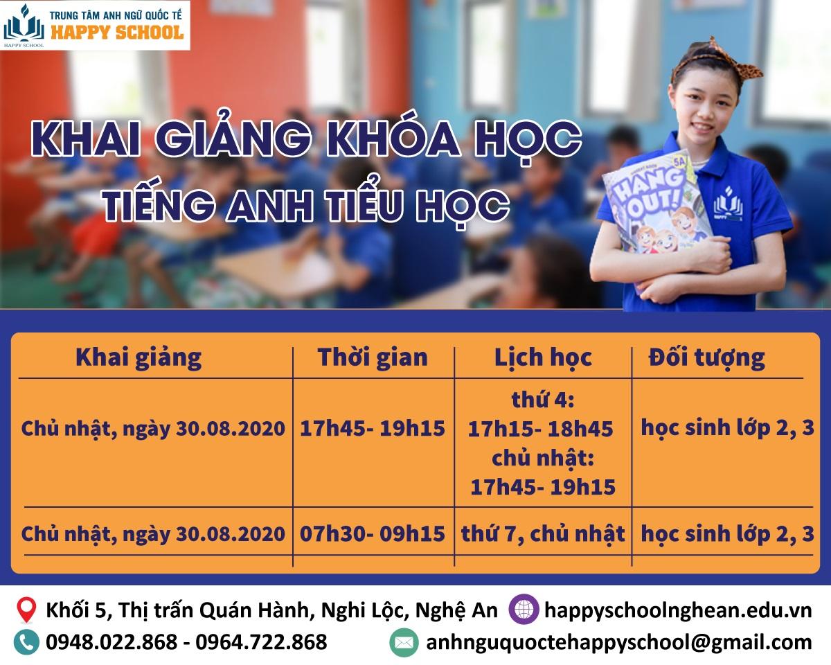 Khai giảng khóa học tiếng Anh tiểu học tại Nghi Lộc