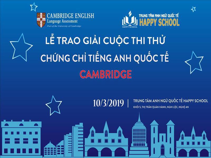 """Lễ trao giải """"Cuộc thi thử Chứng chỉ tiếng Anh Quốc tế Cambridge"""" tại Happy School"""